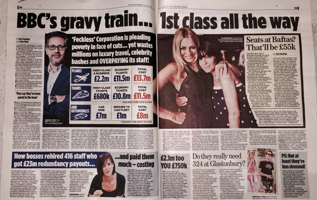 Mail on Sunday BBC 19th July 2015