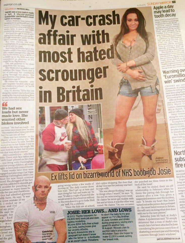 Andy Goy Interview Mirror Josie Cunningham Exclusive 10th May 2015