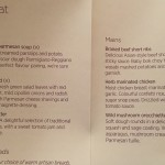 Menu Virgin Atlantic Upper Class