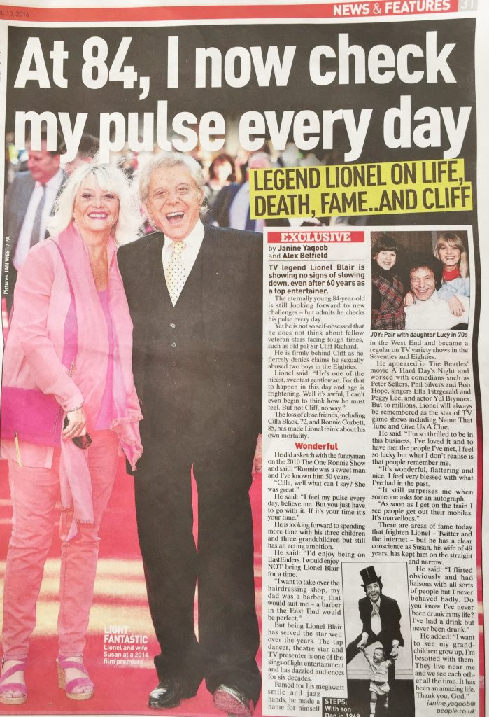 Lionel Blair April 2016