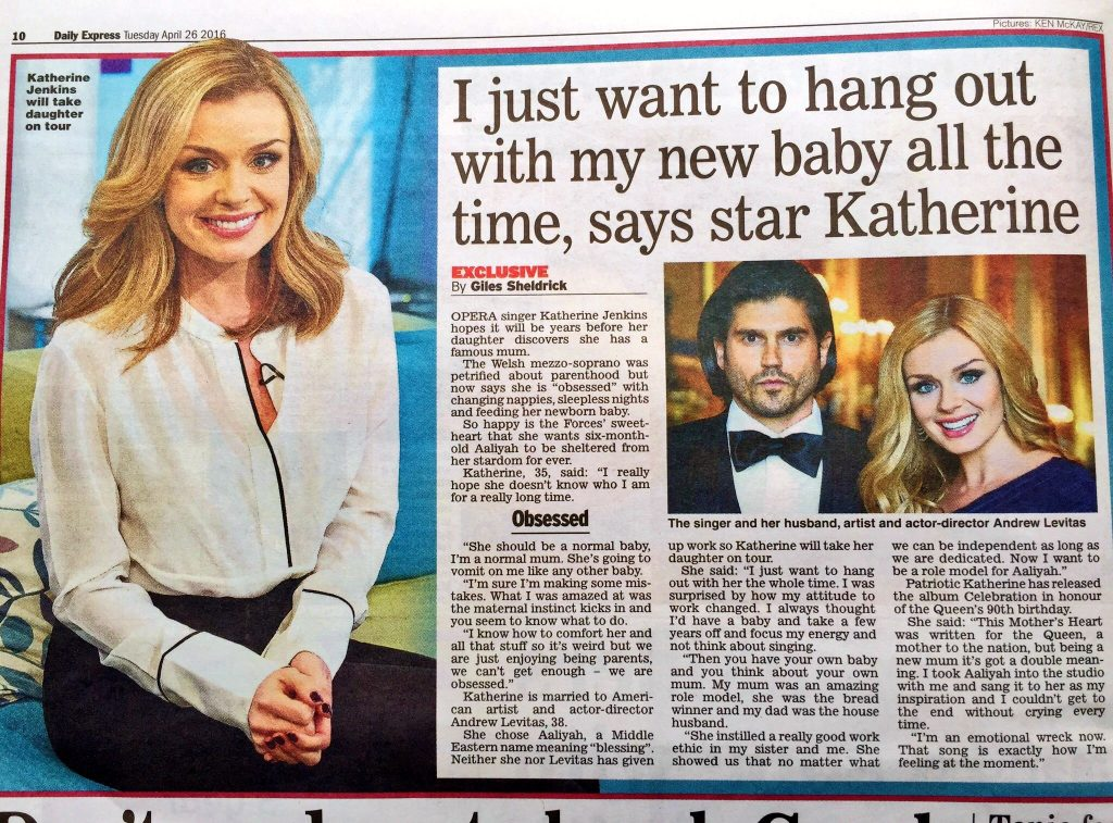 Katherine Jenkins Alex Belfield Daily Express 26th April 2016