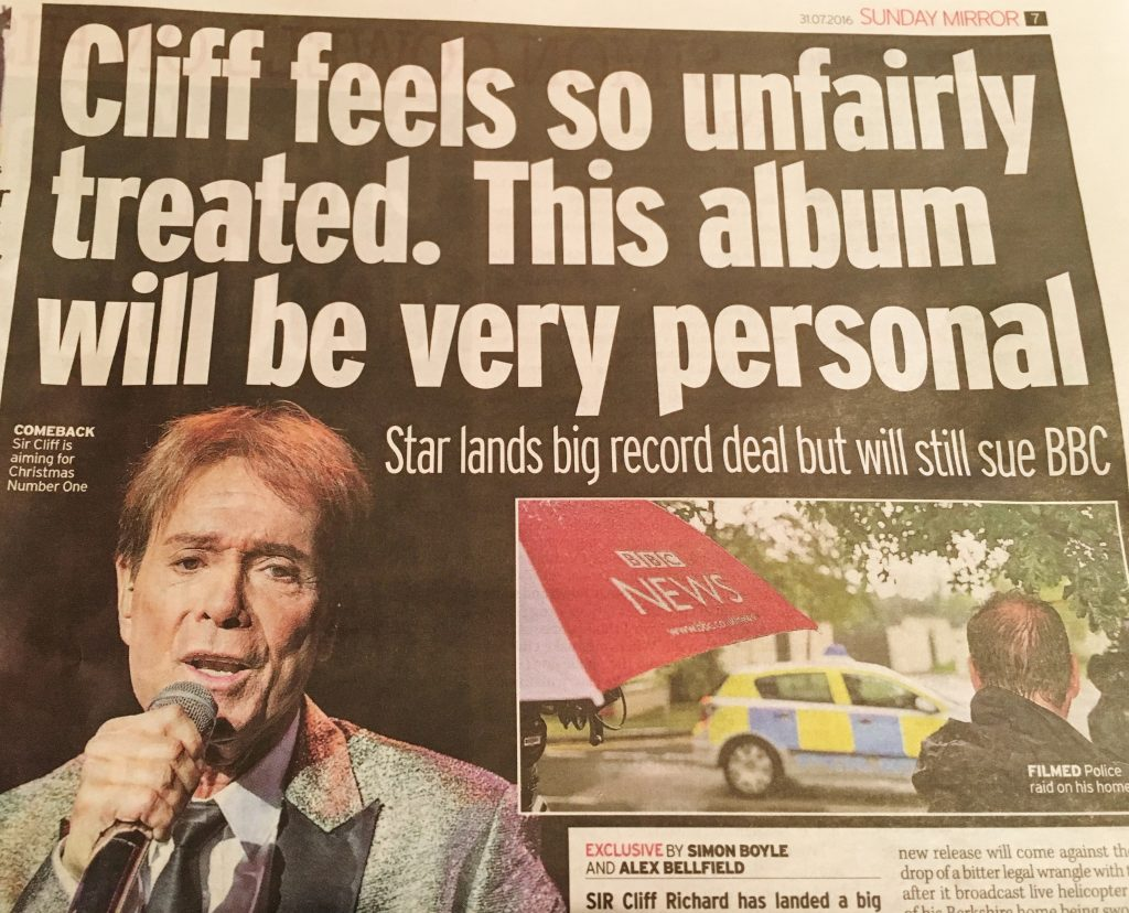 Cliff richard Alex Belfield Mirror Exclusive